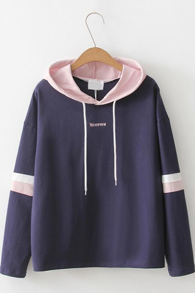 New Arrival Long Sleeve Letter Printed Colorblock Striped Elbow Straight Hoodie