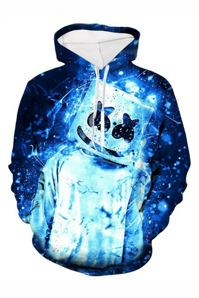New Fashion Popular Smile Face 3D Printed Drawstring Hooded Long Sleeve Blue Casual Loose Hoodie