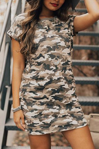 New Fashion Summer Camouflage Print Round Neck Short Sleeve Fitted Dress