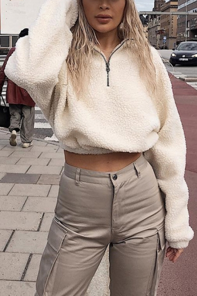 New Fashion White Half-Zip Stand Collar Long Sleeve Plain Cropped Casual Fluffy Shearling Sweatshirt LM554937 фото
