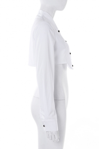 New Style Basic Long Sleeve Lapel Collar Plain Button Down Cropped White Shirt