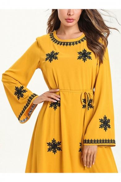 New Stylish Round Neck Long Sleeve Snowflake Print Bow-Tied Waist Yellow A-Line Maxi Dress
