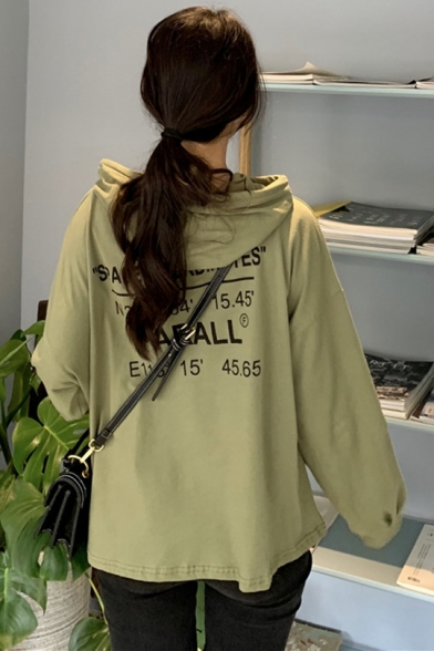 PARALL Letter Print Long Sleeve Drawstring Loose Pullover Hoodie With Pocket