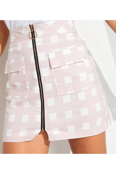 Pink High Waist Check Printed Zip Front Double Pocket Slim Fitted Mini Skirt