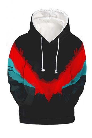 Popular Fashion Colorblock Printed Drawstring Hooded Long Sleeve Black Loose Pullover Hoodie
