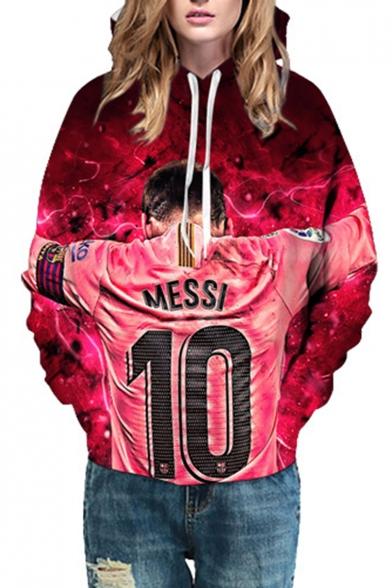 Popular Football Player Figure Letter 10 3D Printed Long Sleeve Rose Red Casual Loose Hoodie