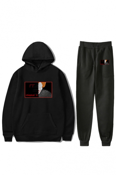 Popular IT Clown Printed Long Sleeve Hoodie with Sport Joggers Sweatpants Co-ords, Black;dark navy;red;white;gray, LC555968