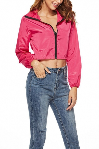 Rose Red Sexy Lapel Collar Elastic Cuffs Long Sleeve Zipper Cropped Trench Coat