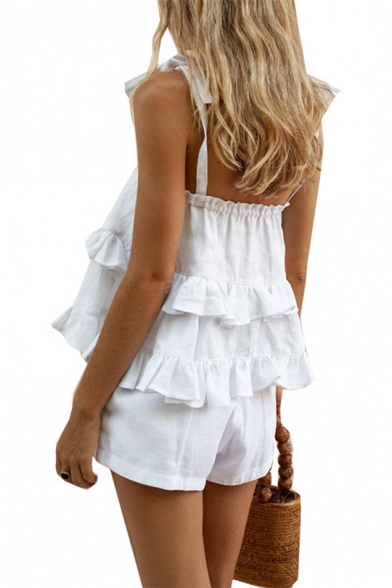 Sexy Fashion Plain Strap Sleeveless Layer Peplum Tee with Casual Loose Shorts Two-Piece Set for Girls