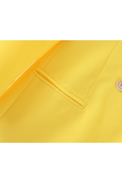 Simple Lapel Collar Double-Button Bright Yellow Solid Color Blazer with Pocket