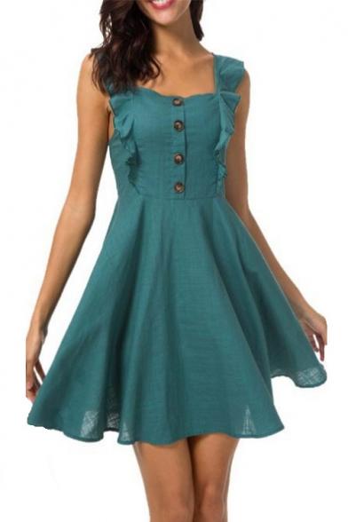 Summer Fashion Plain Ruffled Strap Sleeveless Button Front Linen Mini A-Line Dress