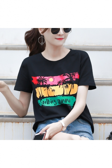 Summer New Stylish SOOTHING SUMMER Letter Tropical Printed Round Neck Short Sleeve Black T-Shirt