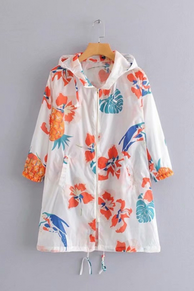 Summer Womens White Fashion Allover Pineapple Printed Long Sleeve Hooded Sun Protection Zip Up Longline Coat