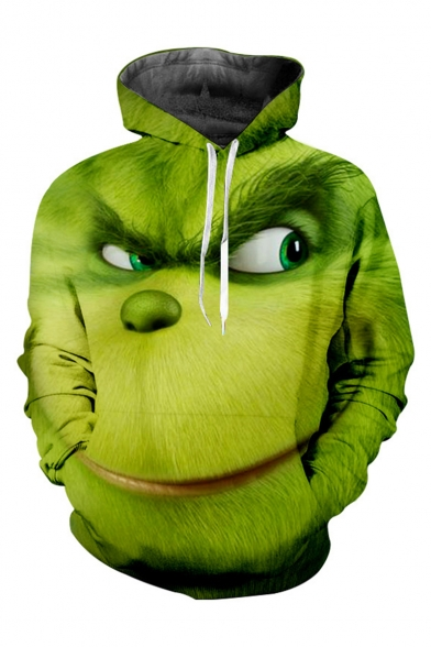 3D Pattern Long Sleeve Casual Loose Green Drawstring Hoodie with Pocket