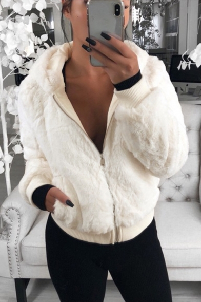 Women's Fashion Simple Plain Zipper Long Sleeve Cropped Fur Coat with Pockets