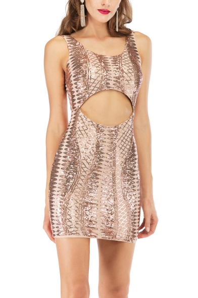 Women's Sexy Round Neck Sleeveless Snakeskin-printed Hollow Bodycon Mini Dress