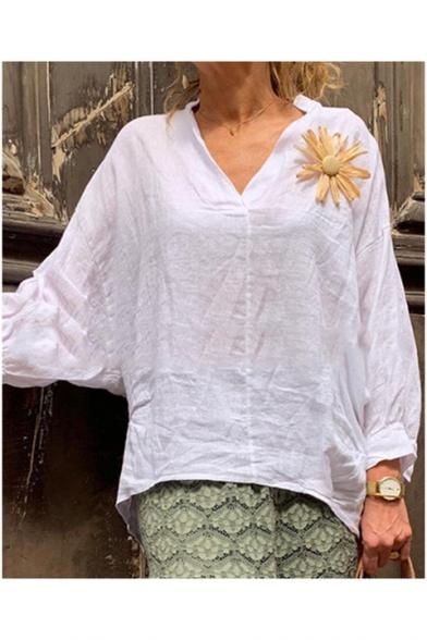 Women's Simple Plain Floral Embellished V-Neck Long Sleeve Loose White Linen Shirt