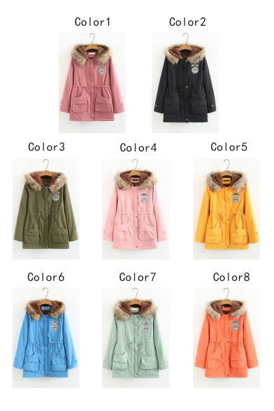 Womens Fashion Letter Army Patched Drawstring Waist Faux Fur Hood Parka Coat
