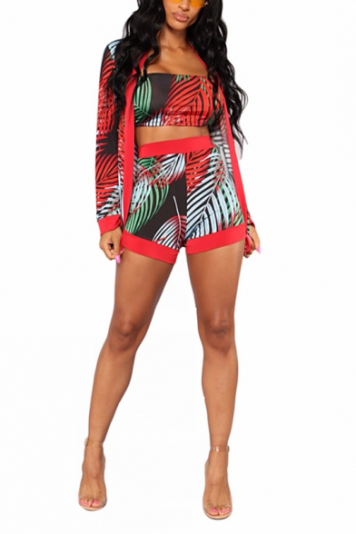 Womens Fashion Tropical Leaf Printed Bandeau Top Cape Coat with Casual Shorts Three-Piece Set