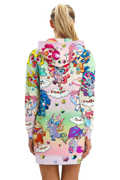 Womens Hoodie Long Sleeve Cartoon Print Casual Sheath Hoodie Midi Dress