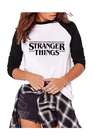 Womens Hot Stylish Raglan Sleeve Stranger Things Letter Printed Slim Fitted T-Shirt, Color 1;color 2;color 3;color 4;color 5;color 6;color 7;color 8;color 9;color 10;color 11;color 12;color 13;color 14;color 15;color 16;color 17;color 18;color 19;color 20