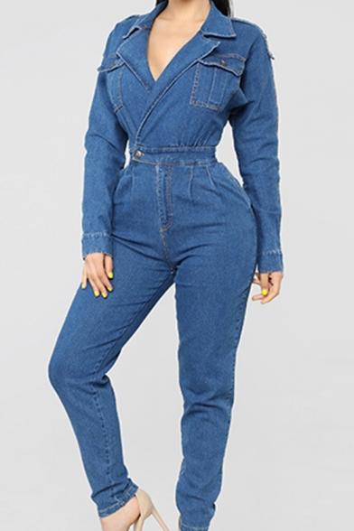 Womens Lapel Collar Long Sleeve Gather Waist Washed Flap Pocket Denim Jumpsuits
