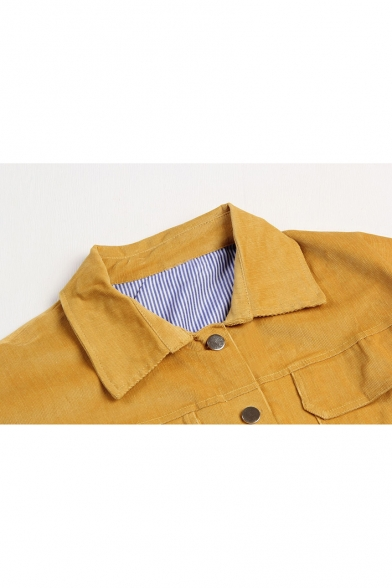 Womens New Arrival Simple Plain Yellow Lapel Collar Long Sleeve Belted Hem Cropped Corduroy Jacket Coat