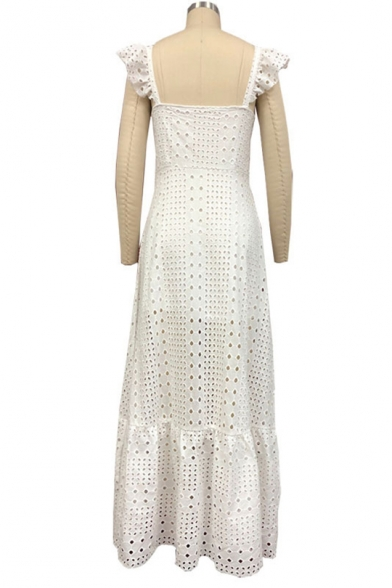 Womens New Fashion Square Neck Sleeveless White Guipure Ruffles Boho A-Line Maxi Dress