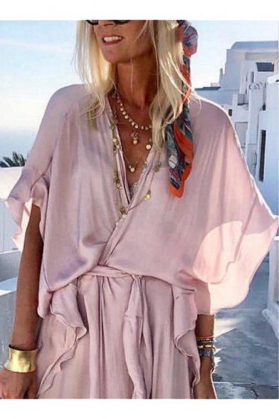 Womens New Fashion V-Neck Short Sleeve Ruffles Tie Plain Boho Asymmetrical Maxi Dress