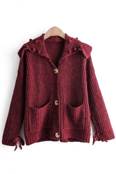 Womens New Plain Bow Long Sleeve Button Hoodie Ribbed Knit Cardigan Knitwear LM556741 фото