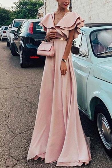 Womens New Trend V-Neck Ruffle Sleeves Webbing Tunic Pink A-Line Floor Length Maxi Dress