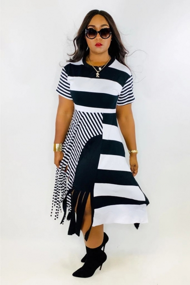 Womens Plus Size Unique Irregular Striped Print Tassel Hem Maxi T-Shirt Dress