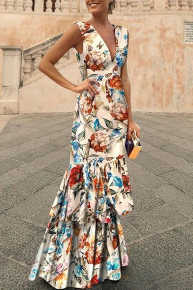 Womens Sexy V-Neck Sleeveless Floral Print Flounce-Tier Asymmetrical Sheath Boho Maxi Dress LM558822 фото