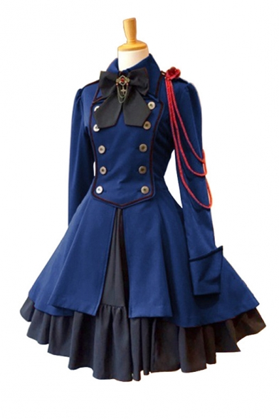 Womens Trendy Vintage Medieval Bow-Tie Collar Lace-Up Back Cosplay Fit and Flared Dress
