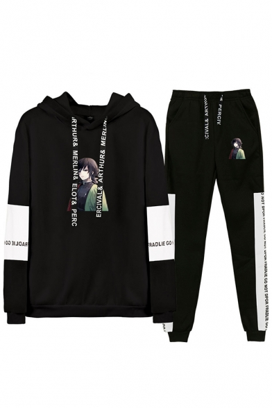 Autumn Winter New Comic Figure Print Long Sleeve Hoodie with Drawstring Sweatpants Two Piece Set, LC558137, Black;gray;white-black;navy