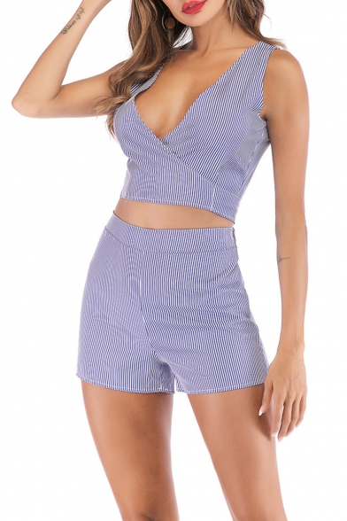 Blue Plunge V Neck Sleeveless Tank Tee with High Waist Shorts Vertical Striped Co-ords