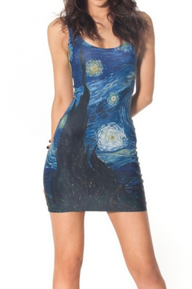 Classic Blue Galaxy Oil Painting Scoop Neck Sleeveless Mini Slim Tank Dress