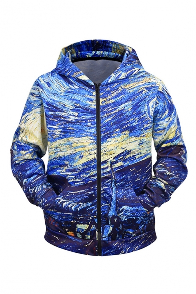 Cool Fashion Galaxy Painting 3D Printed Blue Long Sleeve Casual Zip Up Hoodie