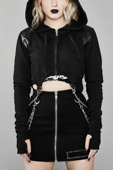 Cool Punk Style Black Plain Chain Embellished Long Sleeve Zip Up Crop Hoodie, LM554635