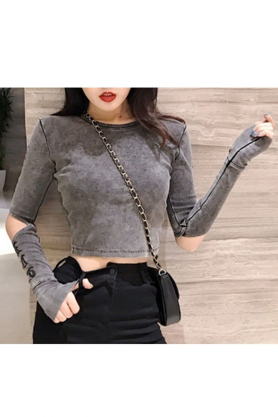 Cool Street Round Neck Cutout Long Sleeve Skinny Fitted Cropped Tee