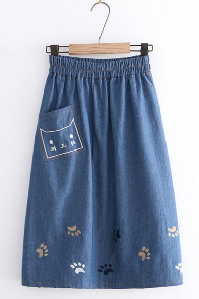 Cute Elastic Waist Embroidery Cat Footprint Denim Mid-Length A-Line Skirt with Pocket
