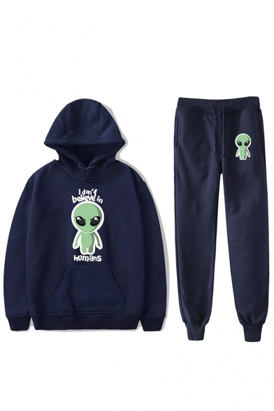 Funny Alien Letter I Don't Believe In Humans Print Hoodie with Joggers Pants Sport Loose Two-Piece Co-ords