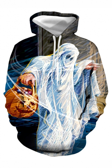 Halloween New Stylish Ringtone Master Pumpkin 3D Printed Long Sleeve Loose Fit Drawstring Hoodie