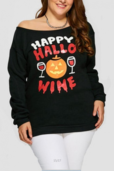 HAPPY HALLO WINE Letter Pumpkin Red Wine Printed Long Sleeve Slash Neck Pullover Sweatshirt for Halloween Party