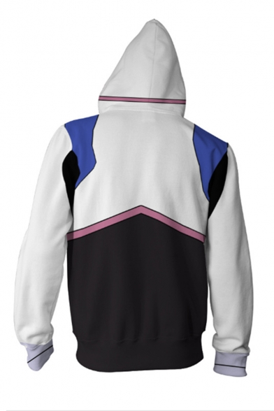 Hot Fashion 3D Printed Cosplay Costume Long Sleeve White Zip Up Hoodie