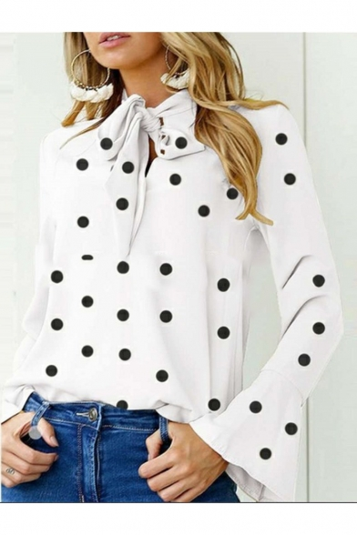 Hot Fashion Polka Dot Printed Knotted Front Bell Long Sleeve Blouse Top