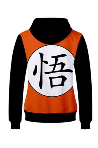Hot Popular Comic Colorblock Chinese Letter Printed Long Sleeve Orange Casual Zip Up Hoodie