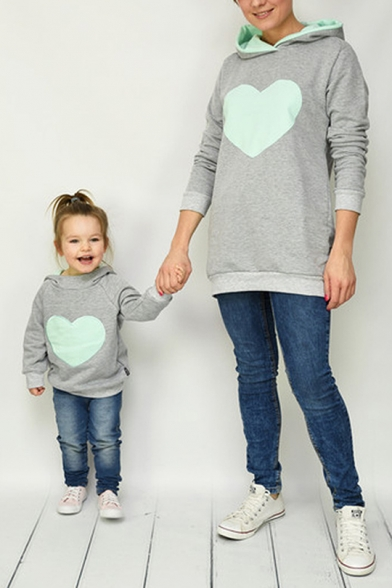 Hot Popular Lover Heart Printed Casual Loose Parent-Child Long Sleeves Pullover Hoodie