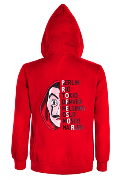 Money Heist Cosplay Costume Chest Zippered Pocket Red Hooded Coat