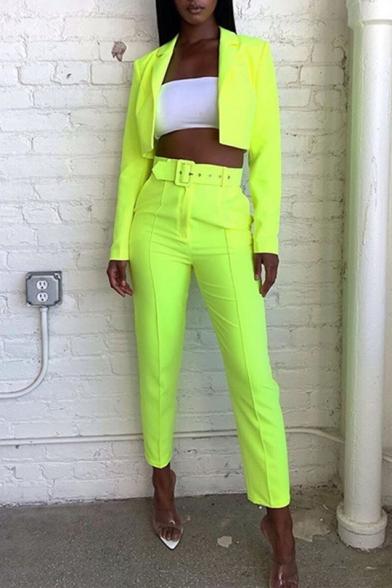 Hot Styslish Long Sleeve Cardigan Coat with Midi Waist Ankle Length Pants with Belt Plain Leisure Co-ords